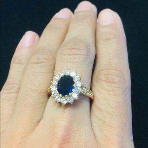 daea19e00fbb4 Blue Sapphire 14K Gold over Sterling Ring